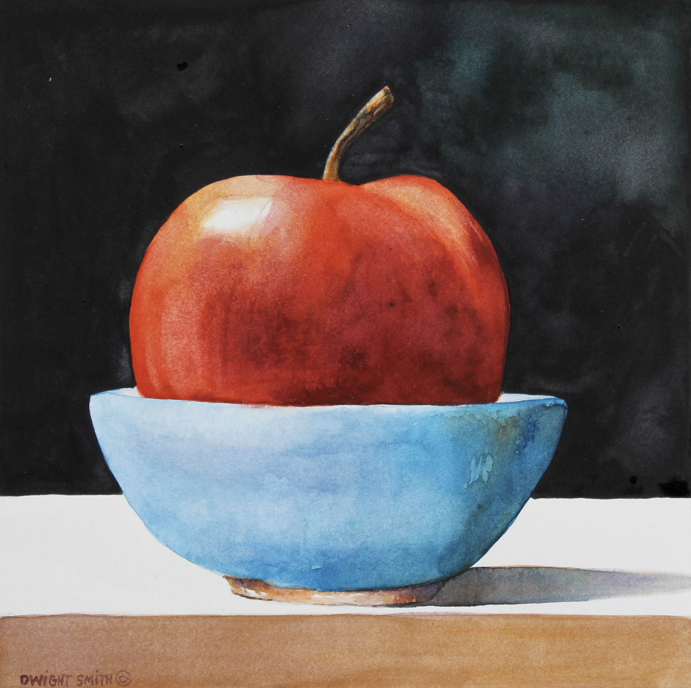 """ RED APPLE WITH BLUE BOWL """