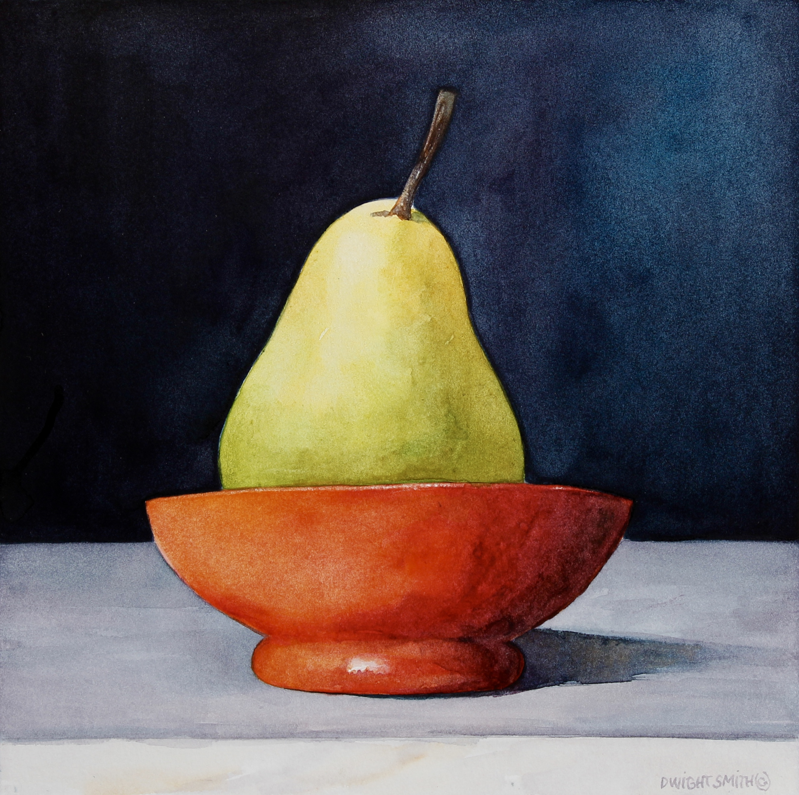 """ GREEN PEAR WITH RED BOWL """